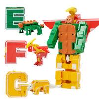 Lot de 7 blocs de lettres dinosaure jouet robot garçon transformant A B C D
