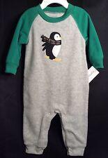 NWT Infant Boys Carter's 1pc Fleece Outfit 3m Ski Penguin Gray/green Jumper NEW