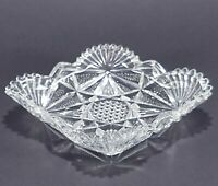 Vintage Clear Pressed Glass Diamond Shape Relish Tray Candy Dish
