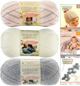 Bernat Softee Baby Acrylic Yarn 3 Pack Bundle  DK Light Worsted #3 Pink Grey Whi