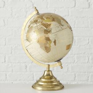 New Rotating Swivel Gold & Cream World Globe Map of Earth Atlas Mens Gift Large