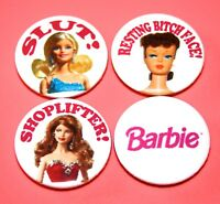 SET OF 4 BARBIE CHEEKY RUDE NAUGHTY BUTTON PIN BADGES