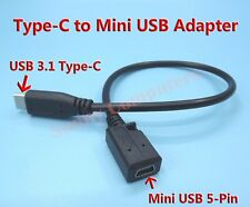 Type-C Male to Mini USB Type-B Female Port Adapter Cable Data Power Cord 25cm AU