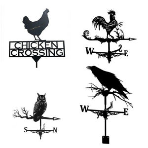 Black Rooster Owl Stainless Weathervane Roof Mount Weather Vane Wind Decor NEW