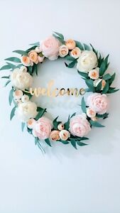 Door Wreath Peony Garland Pink Signage Welcome