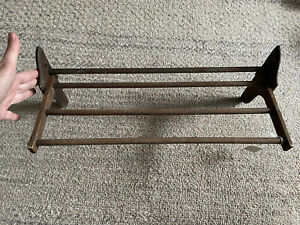 Antique Wood Hanging Folding Shelf Rack With White Bead Buttons Square Nails
