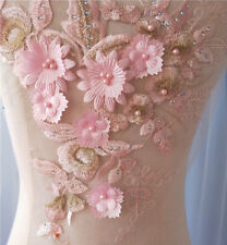 1pc 3D Pink Pearl Beaded Lace Applique  Flowers Patch Motif Costume Wedding