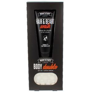 Mens Toiletry Gift Set Man'stuff Hair & Beard Wash & Massage Soap Bar