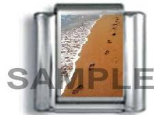 FOOTPRINTS IN THE SAND ~ YOU'LL  NEVER WALK ALONE LORD 9MM ITALIAN CHARM LINK