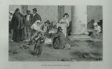 1877:CONTADINI DI SORA PREPARANO LA POLENTA ABRUZZO.Xilo o in Passepartout.ETNA.