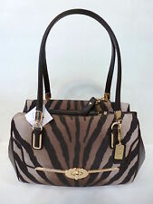 NWT Coach Madison Zebra Print Small Madeline East/West Satchel Bag 26634