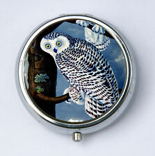 Owl PILL CASE pillbox holder night blue snow owl hipster pretty