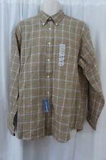 John Ashford Mens Casual Shirt Sz L Delhi Khaki Brown Long Sleeve Buttoned Down