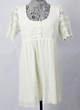 Stone Cold Fox Nina's Ivory White Babydoll Boho Dress Crochet Sleeves EUC Medium