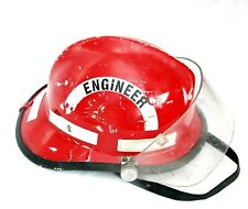 Cairns Fireman Helmet Model 6600 Red MFG Date 1984 NECK GUARD VISOR CHIN STRAP