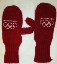 VINTAGE VANCOUVER 2010 OLYMPICS RED WOOL MITTENS WITH CANADA MAPLE LEAF