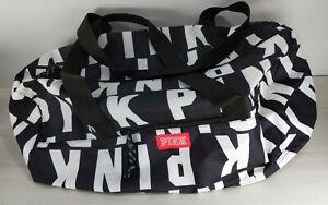 Victorias Secret Pink Logo Duffel Black-White Friday Duffle Tote Bag Zipper