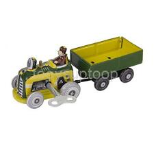 Vintage TIN TOY Wind Up Driving Tractor W. Trailer Collectible Clockwork