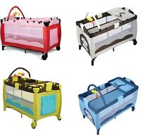 Baby Crib Portable Playpen Infant Mobile Nursery Playard Bed Mattress Pad Colors