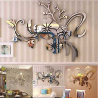 3D Mirror Flower Art Removable Wall Sticker Acrylic Mural Decal Home Decor DIY