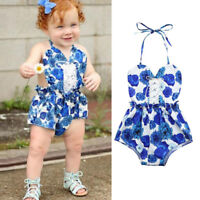Toddler Kids Baby Girls Outfit Clothes Floral Print Sleeveless Romper Jumpsuit