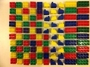 100 Mega Bloks Junior Bricks Compatible With Duplo In Good Condition Age 18m+