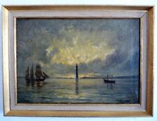 VOILIER AVANT PHARE dans la lumière du soir,romantique, 1890