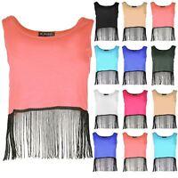 Ladies New Womens Sleeveless Vest Cropped Tops Scoop Neck Tassel Fringe T Shirt