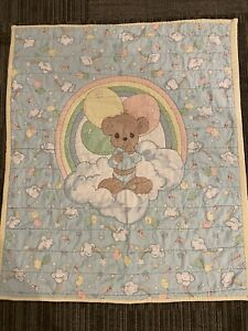 """Vintage Precious Moments Baby Blanket Comforter Quilted 34"""" x 40"""" Bear"""