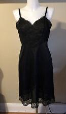 Vintage Vanity Fair Nylon Lined Lace Bodice Full Slip Black 34 S