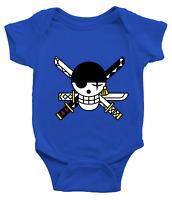 Infant Baby Rib Bodysuit Jumpsuit Romper Roronoa Zoro Jolly Roger Pirate Flag