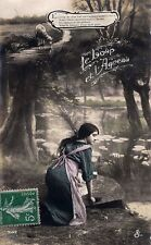 CPA photo (woman) fable, the wolf and the lamb - 1913