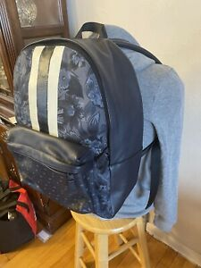 Coach Backpack in Navy Leather And Floral Canvas Athletic Style NEW