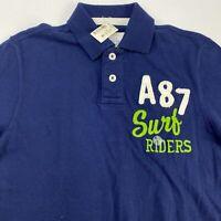 NWT Aero A87 Surf Riders Polo Shirt Men's Small Short Sleeve Navy Casual Cotton