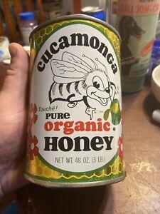 vintage Rare cucamonga pure organic honey 3 lb  can metal killer graphics