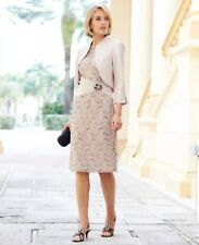 Nightingales Mother Of The Bride Champaigne Lace  Dress  And Jacket Size 16