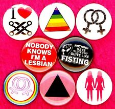 Lesbian 8 NEW 1 inch pins buttons badge gay pride rainbow L word queer scissor