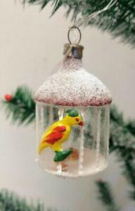 alter Christbaumschmuck >VOGELKÄFIG MIT FUTTER<old Christmas tree decoration