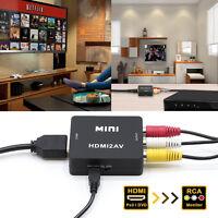 Mini Composite 720P 1080P HDMI to 3RCA Audio Video AV CVBS Adapter Converter TV