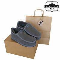 Men's Luxury Handmade 100% Genuine Hard EVA Sole Sheepskin Suede Fur Slippers