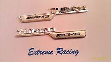 """2x Stemma Logo CROMATO E NERO """" Turbo AMG """" Classe A B C E GLA CLA S"""
