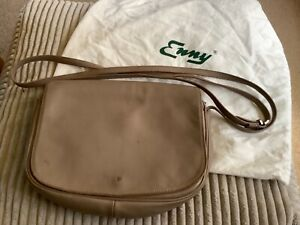 enny soft leather crossbody handbag taupe, mink, natural well used
