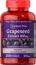 Puritan's Pride Grapeseed Extract 100mg 200 Caps Antioxidant Health Supplement