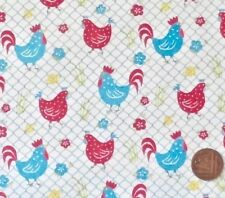 CHICKENS IN PINK & BLUE ON A WHITE BACKGROUND -  COTTON FABRIC LARGE F.Q.