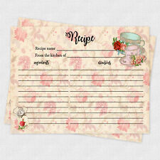 Recipe Cards Game Bridal Shower Recipe Baby Shower Recipe 20 cards Tea Cup Party