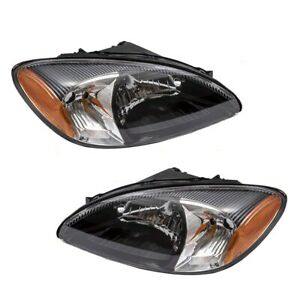 Pair Headlights fit 00-07 Ford Taurus Halogen Headlamps Set Lens w/ Black Bezels