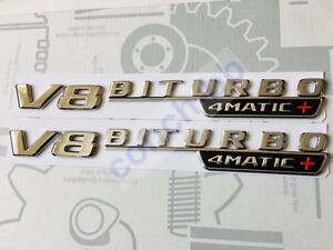 2 X V8 BITURBO 4MATIC+ Chrome BADGE Emblem FOR MERCEDES AMG C63 E63 GLC63 GLS63