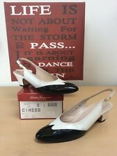 SALVATORE FERRAGAMO (Cinese) White Leather Black Patent SlingBacks Heels 8.5 AAA