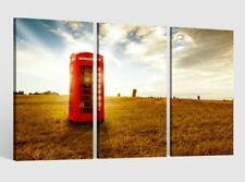 Image Toile 3 Pièces Rouge Cabine Téléphonique Image Photos Toile Toile 9AB4048