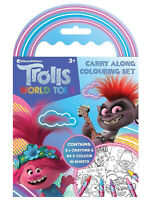 Trolls World Tour Carry Along Colouring Set Crayons Travel Activity Kids